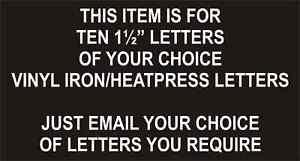 "Iron On / Heatpress FOOTBALL Transfers Letters / Pack of 10 x 1½"" / BLACK / NEW"