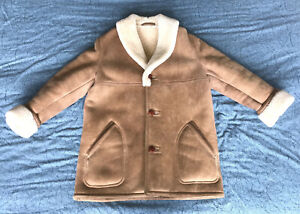 Vintage SAWYER OF NAPA for Nordstrom Shearling Suede Coat Men's 42 Made in USA