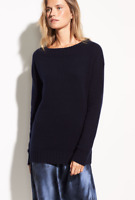 NEW $345 Vince Off Shoulder Long Sleeve Ribbed Sweater in Coastal Blue Size XS
