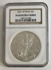 2001 ULTRA CAMEO American Silver Eagle (ASE) NGC PROOF PF 69 one oz .999 AU