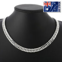 "925 Sterling Silver Filled 10MM Classic Solid Curb Chain Necklace 20""  Stunning"