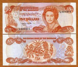 Bahamas, 5 dollars, 1974 (1984) P-45b, QEII, UNC