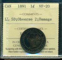 1891 LL SD; Obverse 2, Canada Queen Victoria Large Cent ICCS VF-20 Damage