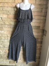 Love Fire Black/white Womens Spaghetti Strap Adjustable Jumpsuit Size M