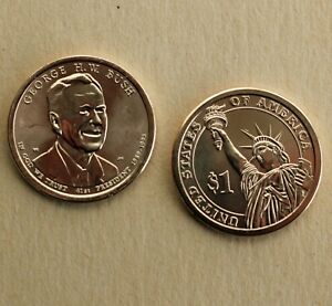 2020 P + D George H W Bush Presidential $1 Coins TWO Uncirculated from Mint Bag