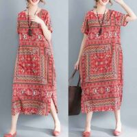ZANZEA Retro Women Cotton Ethnic Long Shirt Dress Summer T-Shirt Dress Sundress