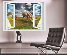 Wandtattoo Fenster 3D Optik Wandsticker Aufkleber Deko Bild - Pferde auf Wiese