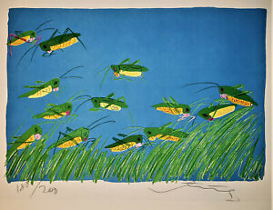 WALASSE TING Lucky Grasshoppers 1981 HAND SIGNED Ltd. Edition Lithog SAM FRANCIS