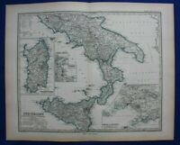Original antique map SOUTH ITALY, SICILY, SARDINIA, GULF OF NAPLES, Stieler 1889