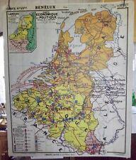 Ancienne carte scolaire n°59 Hatier la Haye Amsterdam Bruxelles Cologne Liège