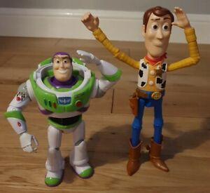 "Disney Pixar Toy Story 4 Woody Figure, 9"" Tall & Buzz Lightyear 7"" Tall / VGC"