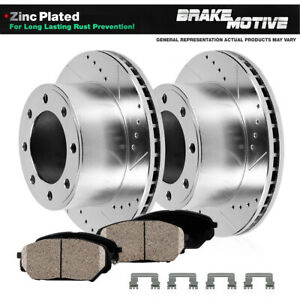 For 2008 - 2018 Ram 4500 5500 Front Drilled Slotted Brake Rotors & Ceramic Pads