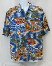 Winnie Fashion 2XL Men's Short Sleeve Hawaiian Shirt with Woody Car, Trees/Ocean