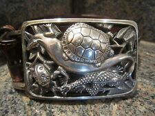 Huge!! Rare!! Kieselstein-Cord Sterling Rain Forest Buckle With Alligator Belt