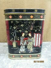 Vintage Chinese Tea Tin Black Gold attached top Lid Metal Oriental Coffee
