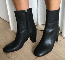 COS Black Leather Ankle Boots Block Heel 40 UK 7 & Dustbag
