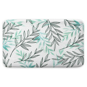 Gray and Light Green Bohemian Leaves Shower Curtain Toilet Cover Rug Contour Rug