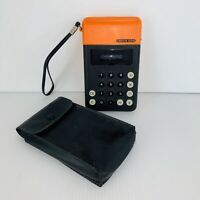 Omron 606 Calculator Black/Orange 5 digit Japan Tateisi Electronics Vintage