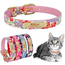 Personalized Leather Dog Collar Adjustable Pet Cat Dogs Puppy Engraved Name SX-L
