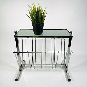 1970s 1980s Vintage Newspaper Magazine Record Rack Collectable Smoked Glass Top