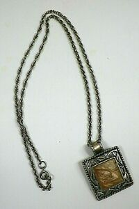 """Kenneth Cole Pendant Necklace Pewter Tone Openwork Design Peachy Pink 23"""" Chain"""