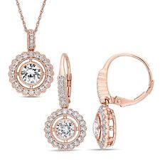 Amour 10k Rose Gold Created White Sapphire Floating Halo Necklace & Earrings Set