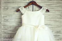 Lace Tulle Cap Sleeves TUTU Flower Girl Dress Wedding Easter Junior Bridesmaid