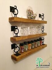 Rustic Floating Handmade Shelves Wooden x 4