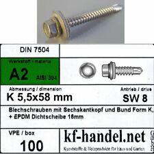 5,5 x 58 mm Bohrschrauben 8mm Kopf Dichtscheibe Ø 16 mm 100 Stück V2A Edelstahl