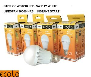 9W  A60 E27 ES from £1.70 Globe ECOLA SMD GLS Lamp LED light bulb Warm/Day White