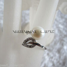 7.5-8.0mm White Freshwater Pearl Ring R13H US Size 7# AC