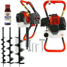 5.2 HP Petrol Earth Auger Hole Borer Strong  + 3x Drill 10/20/30cm