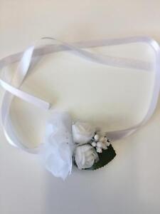 Brautjungfern Blumen Armband Satin Bändchen Beyaz Gül Nedime Bilekligi Weiß