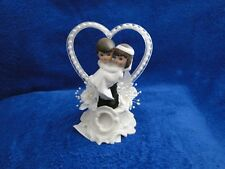 New Petite Caketopper with Bride & Groom with white beaded heart