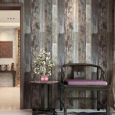 Vintage 3D Textured PVC Wallpaper Panel Wood Rolls Slategray/Brown Barnwood Wall