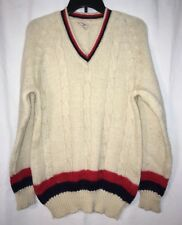 Vintage Old Cream w/ Red & Blue Acrylic Tennis Sweater Clifford's Mens 52 Fits S