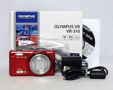 Olympus VR-310 14 MP P&S Digital Camera Red HD 10x zoom Li-42B Battery