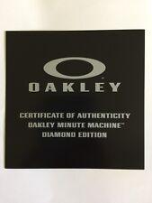 Oakley Watch Minute Machine Diamond Edition Certificate of Authenticity POP Card