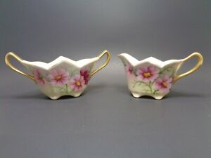 ANTIQUE VICTORIAN CREAMER SUGAR SET HAND PAINTED PINK FLORAL GOLD GILT ACCENTS