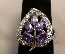 Platinum Large Purple Leaf Zircon  Ring Size 7.5  ~Ships FREE to US R279