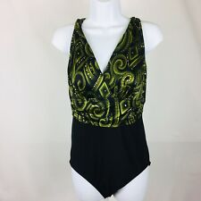 Croft and Barrow Womens One Piece Swim Suit Bathing Suit Size 12 Black Green