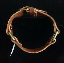 Sectional Collar Antique Gold Buckle, Redish Brown Leather, 16-12in,Artisan Made