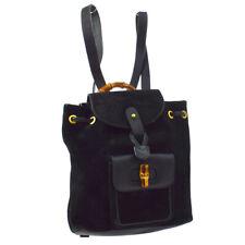 GUCCI Bamboo Line Backpack Hand Bag Black Suede Leather Vintage AK25808g