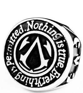 Assassins Creed Ring Motto Spartan Warrior Odyssey Stainless 316L Steel Sizes