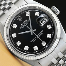 MENS ROLEX DATEJUST 18K WHITE GOLD & STAINLESS STEEL BLACK DIAMOND DIAL WATCH