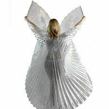 Danzcue Adult M/L Transparent Silver Belly Dance Worship Angel Wings With Sticks