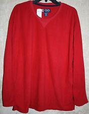 NEW CHAPS long sleeve Fleece shirt Red XL Crew Neck  Supper Soft mens