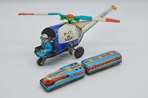 Vintage MT Masudaya Tin Toy Sky Patrol Helicopter & Tinplate Express Train Japan