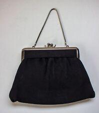 VINTAGE Small BLACK PURSE with Silver Tone Evening Bag Handbag Snake Chain