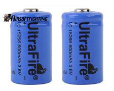 2X UltraFire CR2 15266 3.6V 600mAh Rechargeable Li-ion Battery Batteries